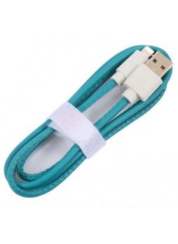 PU Leather Data Charge Sync Lighting Cable Aqua × 2