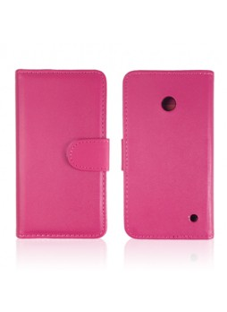 Synthetic Leather Wallet Case Cover for Nokia Lumia 630 - Hot Pink