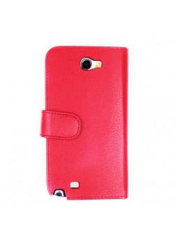 Litchi Skin Wallet Case for Samsung Galaxy Note2 - Red