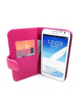Litchi Skin Wallet Case for Samsung Galaxy Note2 - Hot Pink
