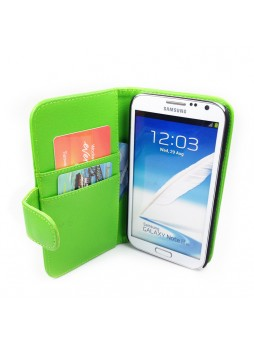 Litchi Skin Wallet Case for Samsung Galaxy Note2 - Green