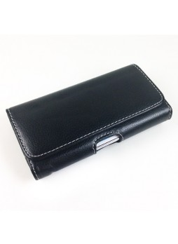 Litchi Skin Synthetic Leather Side Pouch for Samsung Galaxy Note2 N7100 - Black