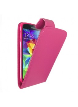 Synthetic Leather Flip Case Cover for Samsung Galaxy S5 - Hot Pink