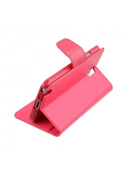 Korean Mercury Sonata Wallet Case for Samsung Galaxy Note 4 - Hot Pink