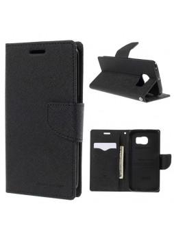 Korean Mercury Fancy Diary Wallet Case for Samsung Galaxy S6 Edge - Black