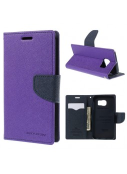 Korean Mercury Fancy Wallet Case for Samsung Galaxy S6 Edge - Purple