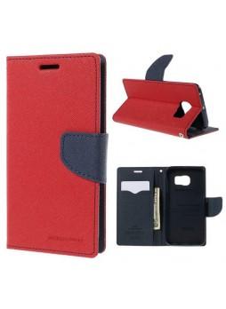 Korean Mercury Fancy Diary Wallet Case for Samsung Galaxy S6 Edge - Red