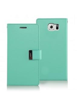 Korean Mercury Rich Double Wallet Case for Samsung Galaxy S6 Edge - Green