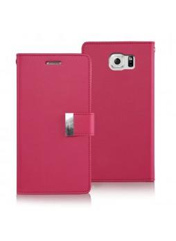 Korean Mercury Rich Double Wallet Case for Samsung Galaxy S6 Edge - Hot Pink