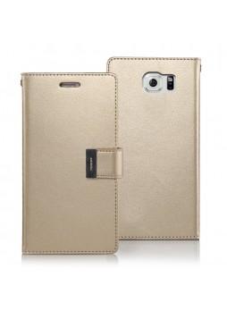 Korean Mercury Rich Double Wallet Case for Samsung Galaxy S6 Edge - Gold