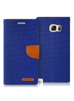 Korean Mercury Canvas Diary Wallet Case forCanvas Diary Wallet Case for Samsung Galaxy S6 Edge Blue
