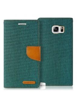 Korean Mercury Canvas Diary Wallet Case forCanvas Diary Wallet Case for Samsung Galaxy S6 Edge Green