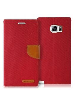 Korean Mercury Canvas Diary Wallet Case forCanvas Diary Wallet Case for Samsung Galaxy S6 Edge Red