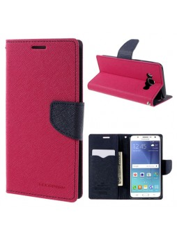 Korean Mercury Fancy Diary Wallet Case Cover for Samsung Galaxy J3 2016 Hot Pink