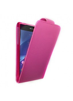Synthetic Leather Flip Case Cover for Sony Xperia Z2 D6503 - Hot Pink