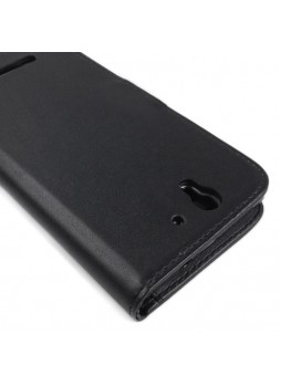 Synthetic Leather Wallet Case for Sony Xperia C3 - Black