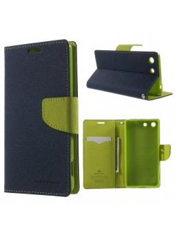 Korean Mercury Fancy Diary Wallet Case for Sony Xperia M5 Navy Blue