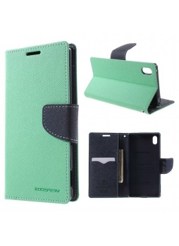 Korean Mercury Fancy Diary Wallet Case for Sony Xperia Z5 Green