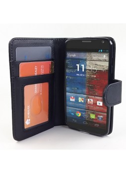 Synthetic Leather Wallet Case Cover for Motorola Moto X - Black