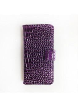 Crocodile Skin Wallet Case for iPhone 5 / 5S - Purple