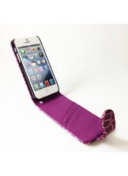 Crocodile Skin Flip Case for iPhone 5 / 5S - Purple
