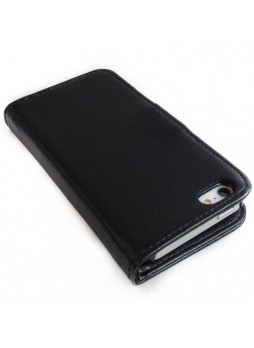 Litchi Skin Wallet Case with ID Card Slots for Apple iPhone 5 / 5S - Black