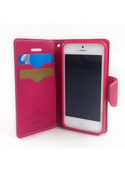 Mercury Goospery Fancy Dairy Wallet Case for iPhone 5C - Hot Pink