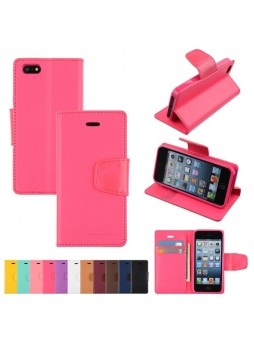 Mercury Goospery Sonata Diary Wallet Case for iPhone 5 / 5S - Hot Pink