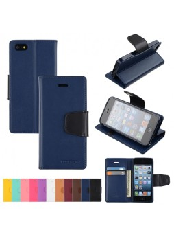 Mercury Goospery Sonata Diary Wallet Case for iPhone 5 / 5S - Navy Blue