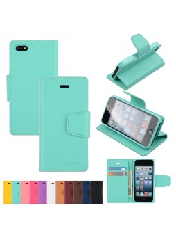 Mercury Goospery Sonata Diary Wallet Case for iPhone 5 / 5S - Green