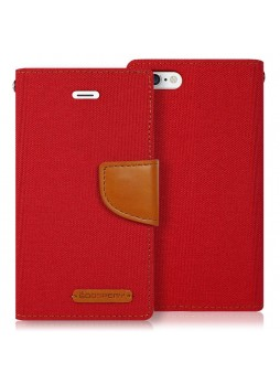 Korean Mercury Canvas Diary Wallet Case for Apple iPhone 5/5S Red