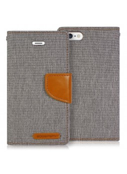 Korean Mercury Canvas Diary Wallet Case for Apple iPhone 5/5S Grey