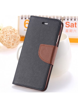 iPhone 6 Korean Mercury Fancy Diary Wallet Case - Black/Brown