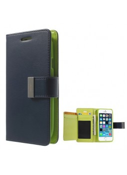 Korean Mercury Rich Diary Wallet Case for iPhone 6 - Navy Blue