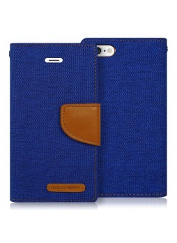 Korean Mercury Canvas Diary Wallet Case for Apple iPhone 5/5S Blue