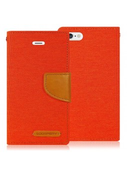 Korean Mercury Canvas Diary Wallet Case for Apple iPhone 5/5S Orange