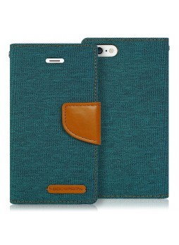 Korean Mercury Canvas Diary Wallet Case for Apple iPhone 5/5S Green