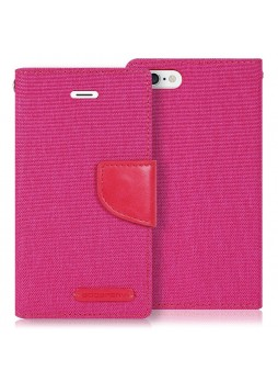 Korean Mercury Canvas Diary Wallet Case for Apple iPhone 5/5S Pink