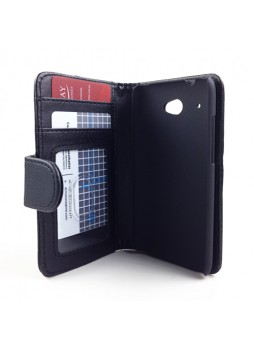 Synthetic Leather Wallet Case Cover for HTC Desire 601 - Black