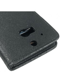Synthetic Leather Wallet Case Cover for HTC One M8 - Black
