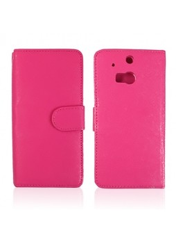 Synthetic Leather Wallet Case Cover for HTC One M8 - Hot Pink