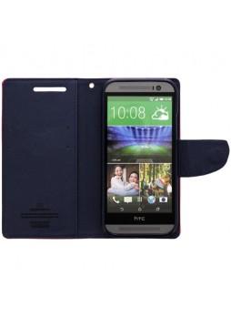 Mercury Goospery Fancy Diary Wallet Case for HTC One M8 - Hot Pink