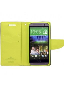 Mercury Goospery Fancy Diary Wallet Case for HTC One M8 - Navy