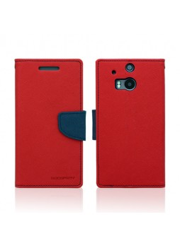 Mercury Goospery Fancy Diary Wallet Case for HTC One M8 - Red
