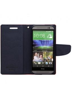 Mercury Goospery Fancy Diary Wallet Case for HTC One M8 - Red