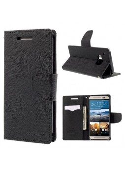 Korean Mercury Fancy Diary Wallet Case for HTC One M9 - Black