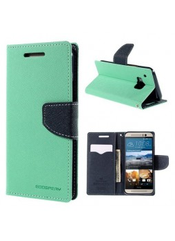 Korean Mercury Fancy Diary Wallet Case for HTC One M9 - Green