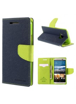 Korean Mercury Fancy Diary Wallet Case for HTC One M9 - Navy