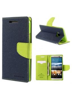 Korean Mercury Fancy Diary Wallet Case for HTC One M9 - Navy
