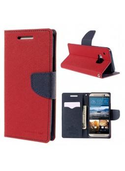 Korean Mercury Fancy Wallet Case for HTC One M9 - Red